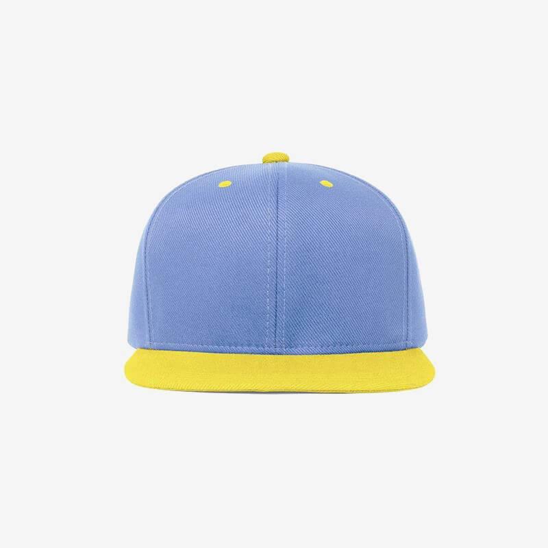 Boné aba reta azul claro e amarelo-Two color - Frente