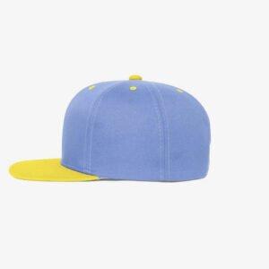 Boné aba reta azul claro e amarelo-Two color - Lateral