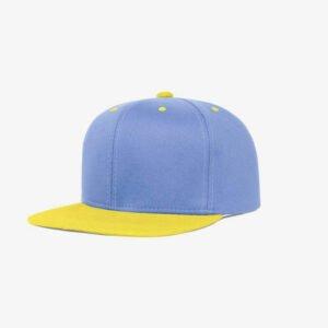 Boné aba reta azul claro e amarelo-Two color - Perfil