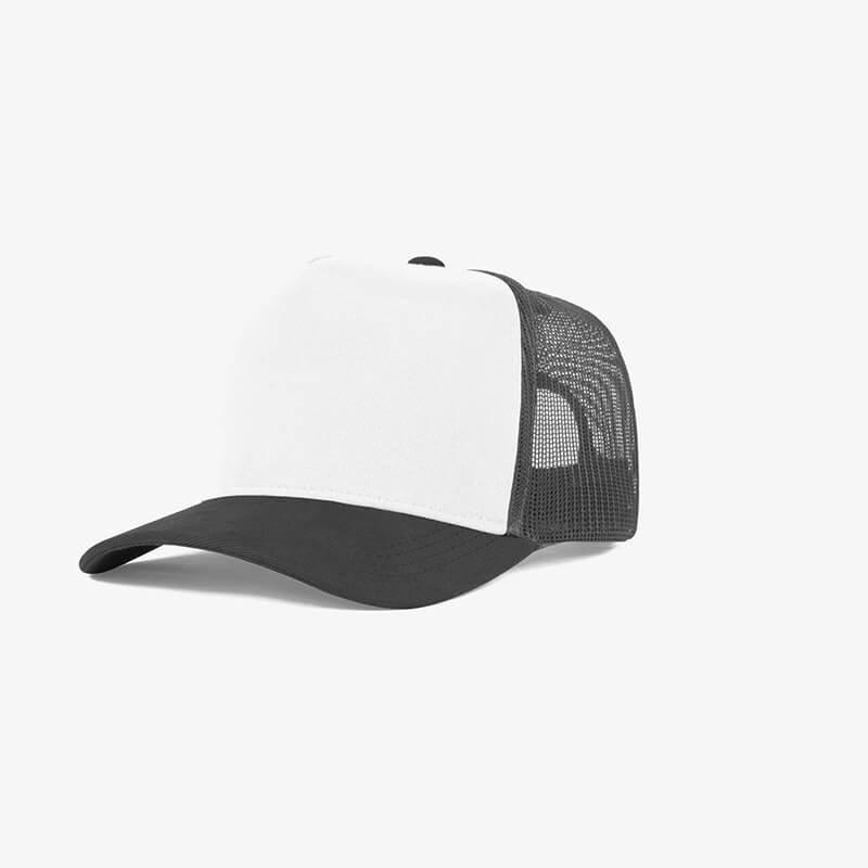 Bone trucker de tela branco e cinza escuro - Perfil