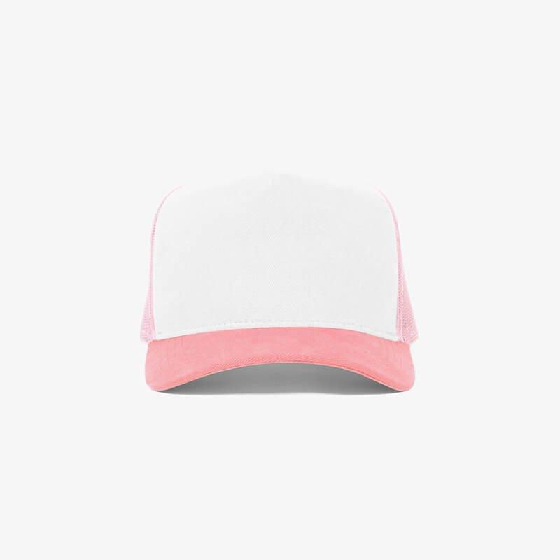 Boné trucker de tela branco e rosa - Frente