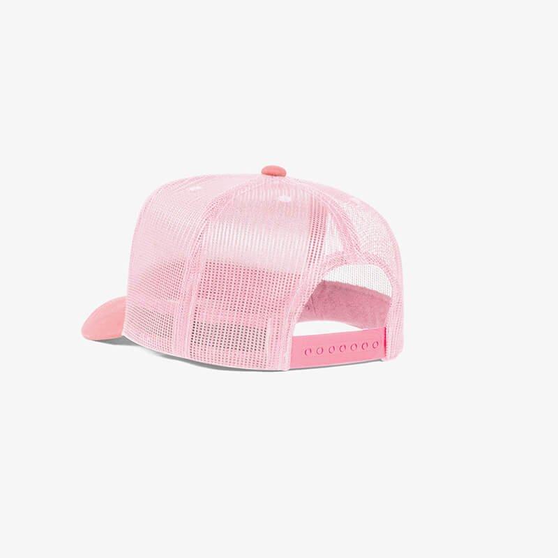 Bone trucker de tela branco e rosa - Perfil tr
