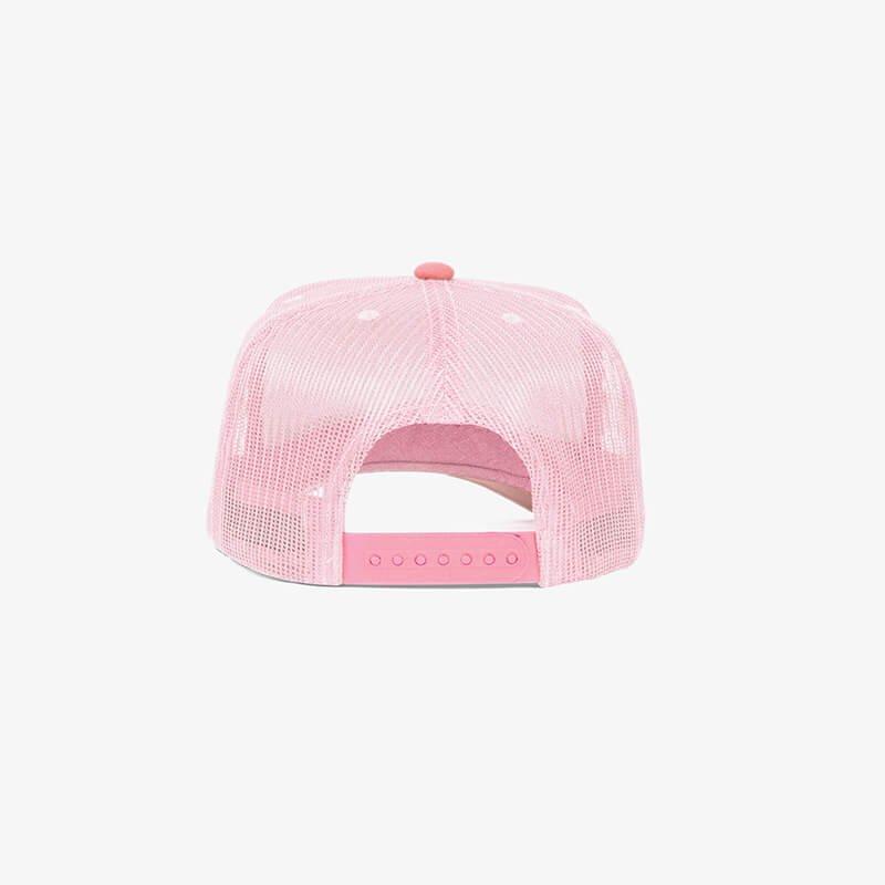 Boné trucker de tela branco e rosa - Tr