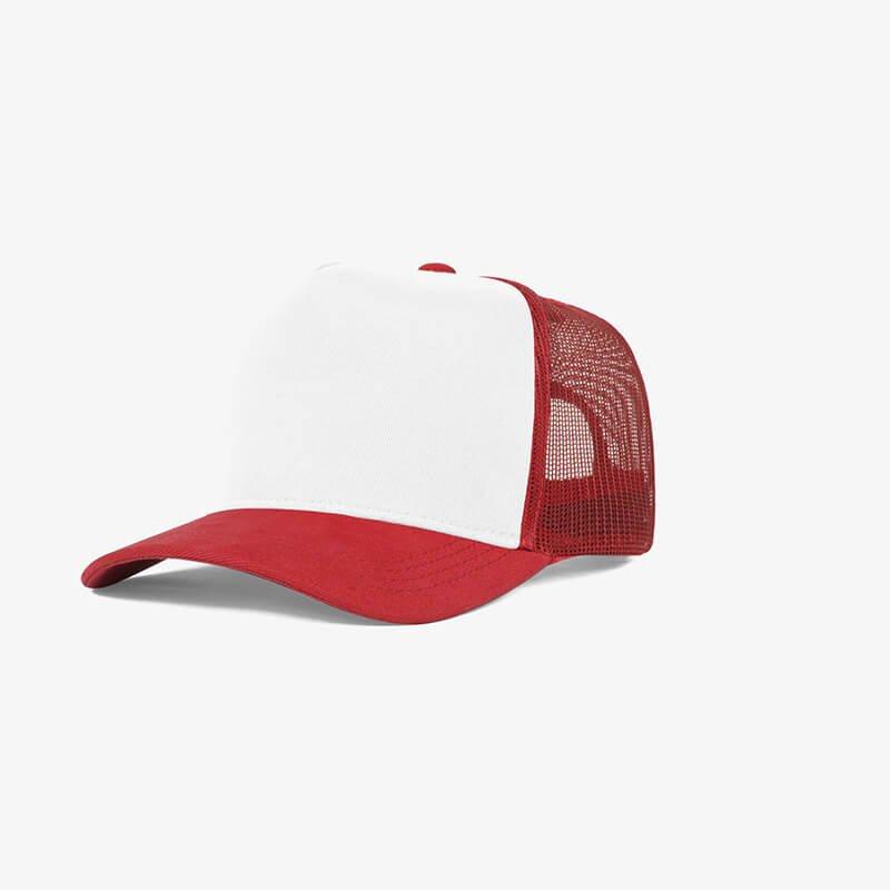 Boné trucker de tela branco e vermelho - Perfil