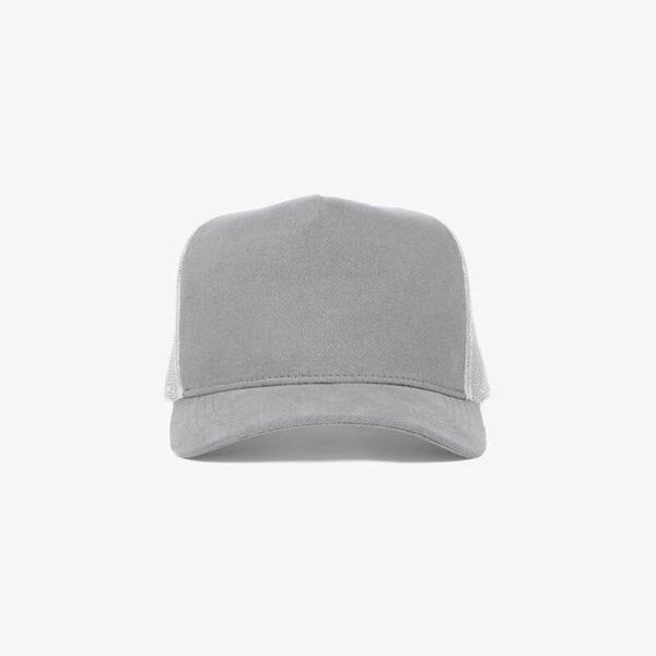 Boné trucker de tela todo cinza claro - One color frente