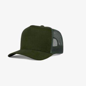 Boné trucker de tela todo verde musgo - One color perfil