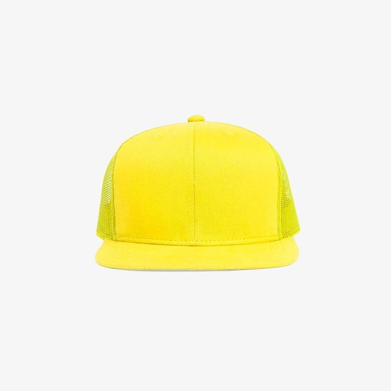 Boné aba reta amarelo em brim e tela - Frente