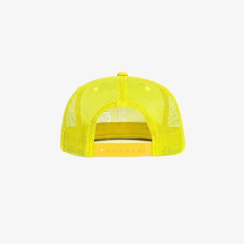 Boné aba reta amarelo em brim e tela - Traseiro