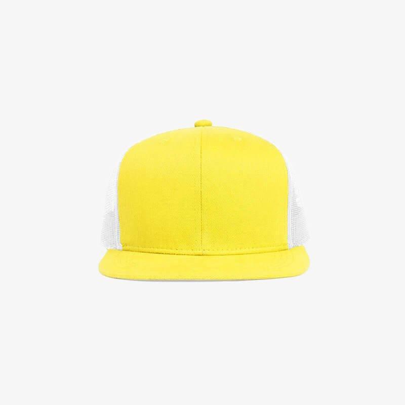 Boné aba reta em brim amarelo 0180 e tela branca - Frente