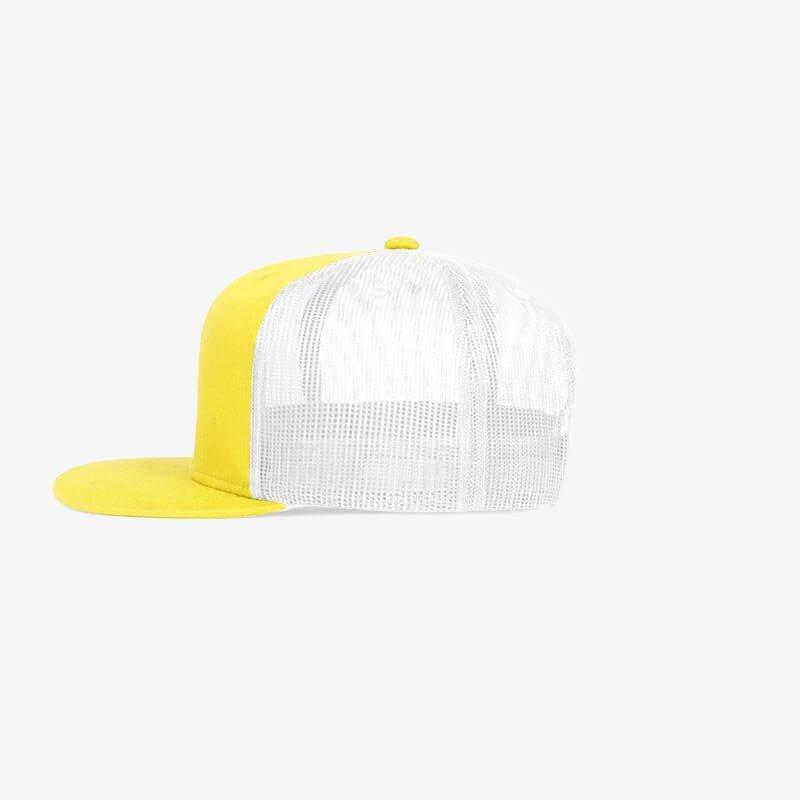 Boné aba reta em brim amarelo 0180 e tela branca - Lateral