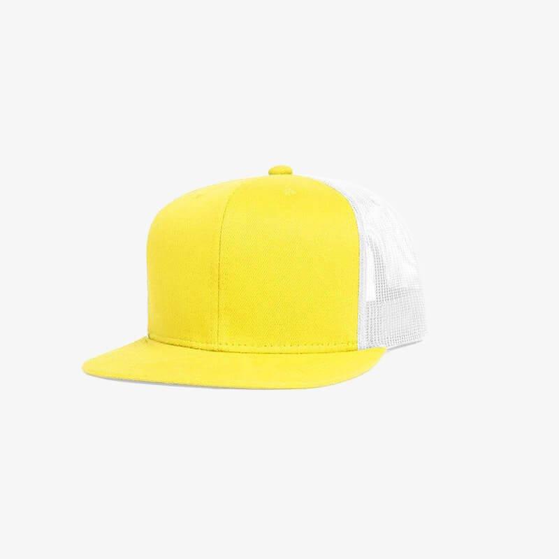 Boné aba reta em brim amarelo 0180 e tela branca - Perfil