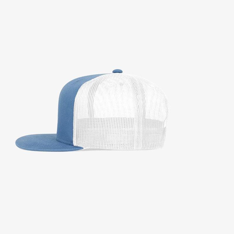 Boné aba reta em brim azul 5022 e tela branca - Lateral