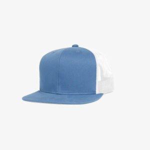 Boné aba reta em brim azul 5022 e tela branca - Perfil