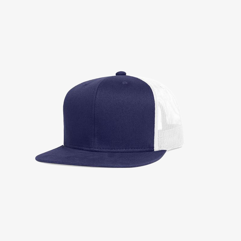 Boné aba reta em brim azul marinho 0593 e tela branca - Perfil