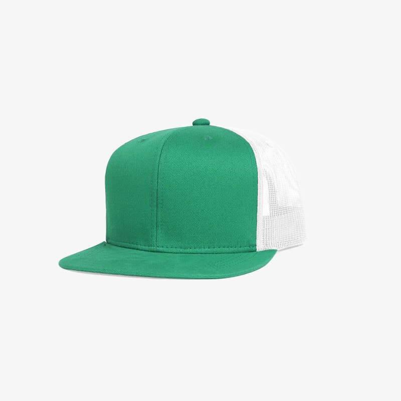 Boné aba reta em brim verde bandeira e tela branca - Perfil