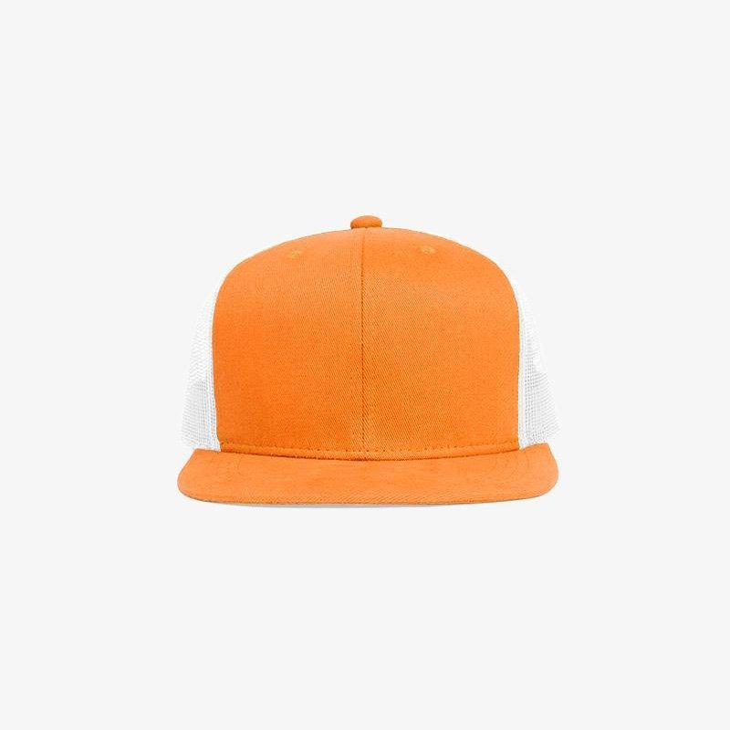 Boné aba reta em brim laranja e tela branca - Frente
