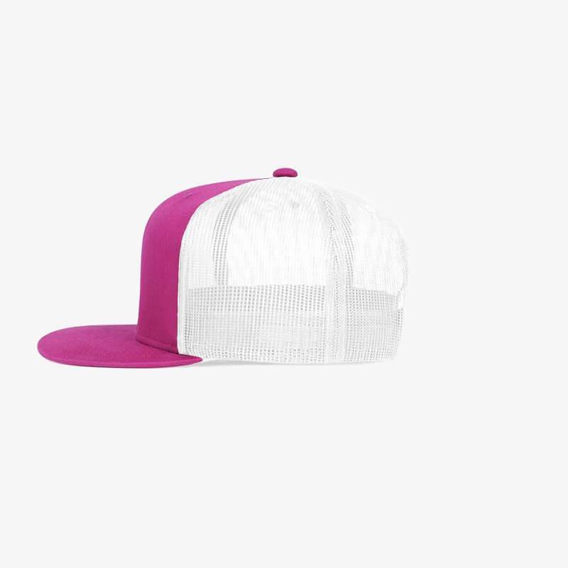 Boné aba reta em brim pink 0340 e tela branca - Lateral
