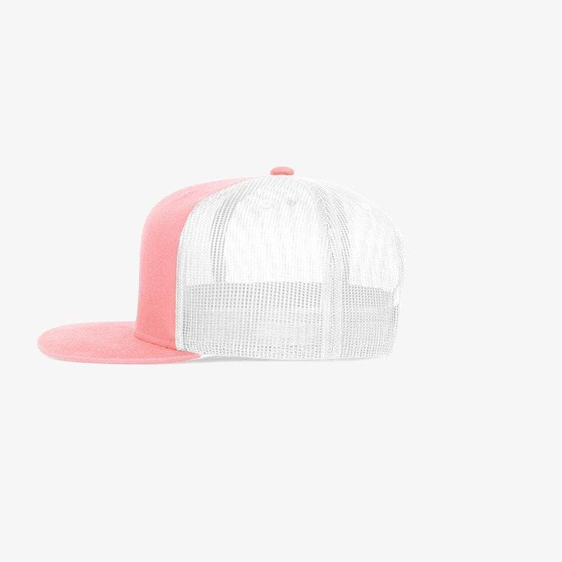 Boné aba reta em brim rosa 3028 e tela branca - Lateral