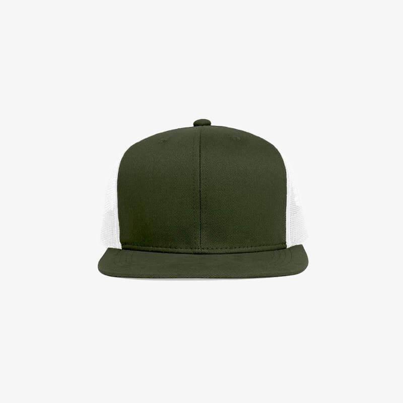 Boné aba reta em brim verde musgo 0656 e tela branca - Frente