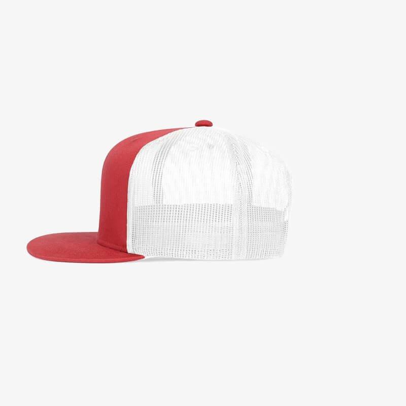 Boné aba reta em brim vermelho e tela branca - Lateral