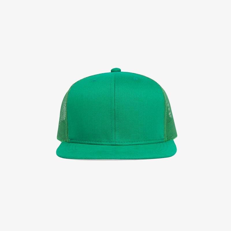 Boné aba reta verde bandeira em brim e tela - Frente