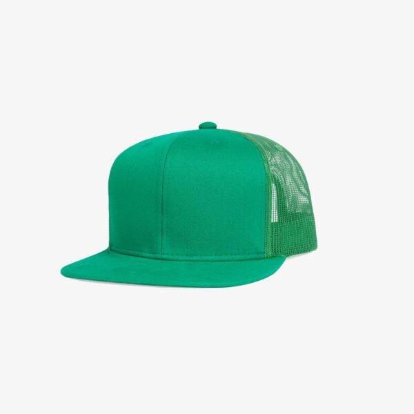 Boné aba reta verde bandeira em brim e tela - Perfil