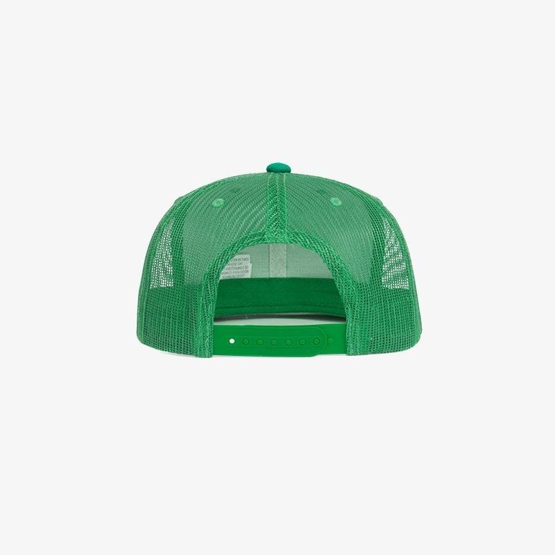 Boné aba reta verde bandeira em brim e tela - Traseiro