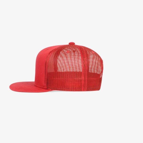 Boné aba reta vermelho em brim e tela - Lateral