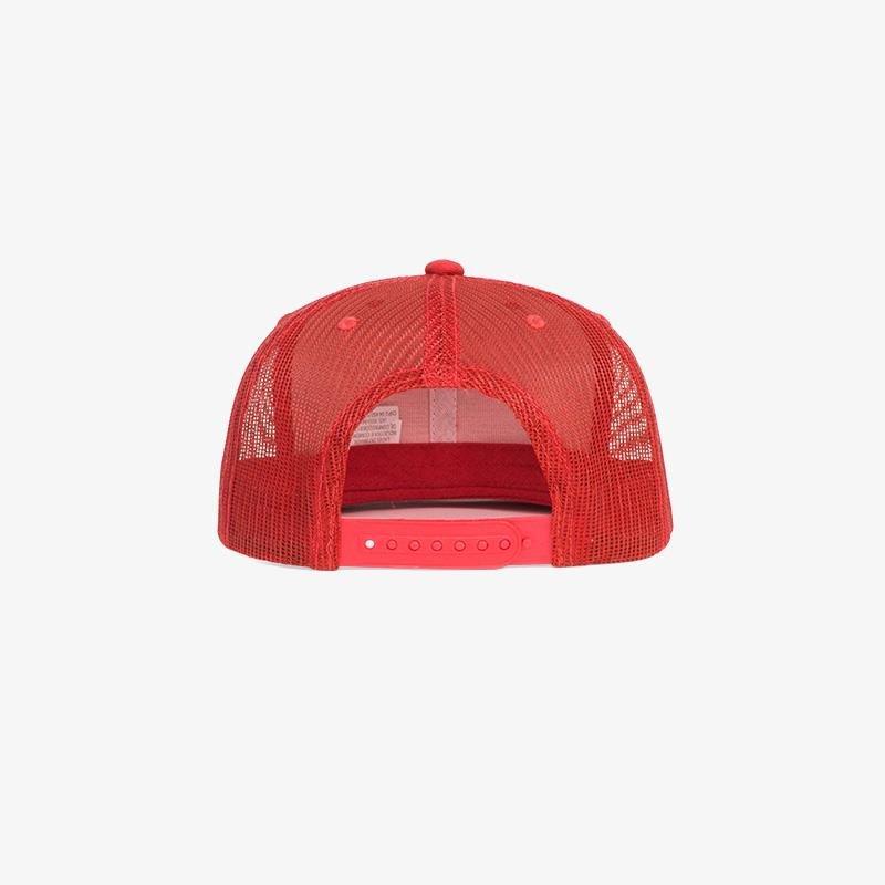 Boné aba reta vermelho em brim e tela - Traseiro