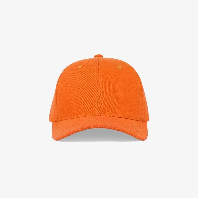Boné flex fechado em brim laranja - Frente