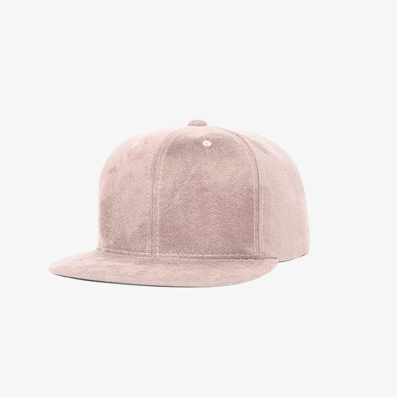 Boné snapback aba reta em veludo rosa claro - Perfil