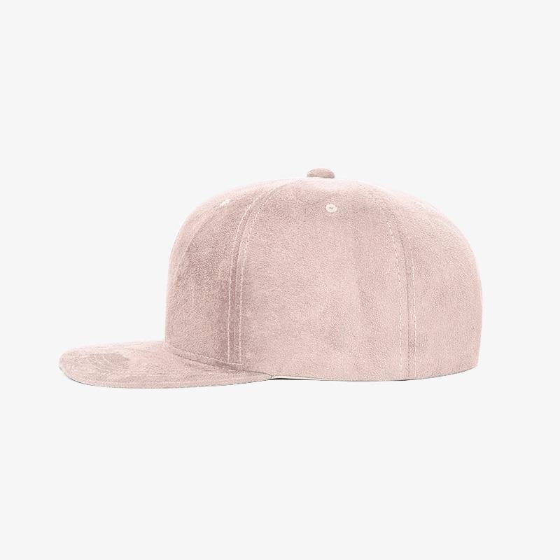 Boné snapback aba reta em veludo rosa claro - Lateral