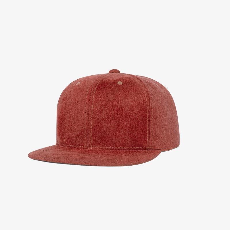 Boné snapback aba reta em veludo vermelho - Perfil