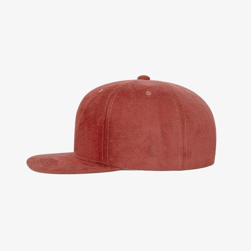 Boné snapback aba reta em veludo vermelho - Lateral