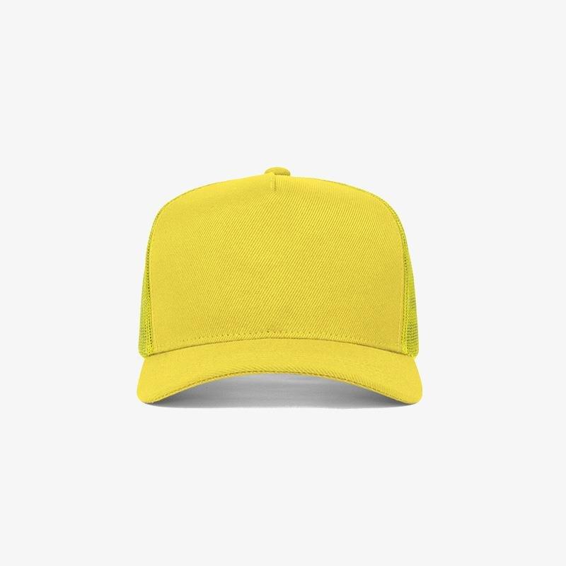 Boné trucker amarelo em sarja e tela - Frente