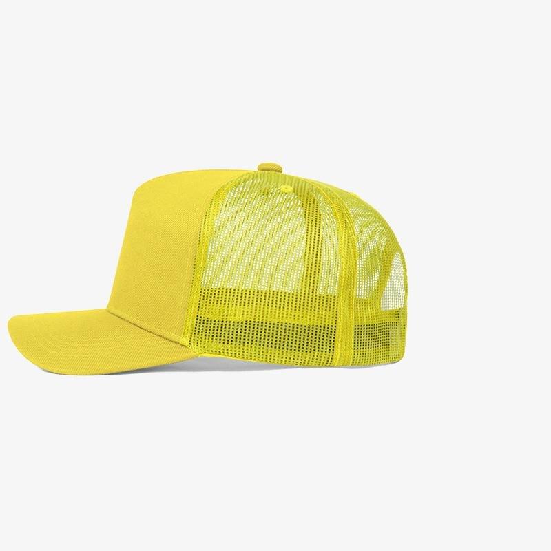 Boné trucker amarelo em sarja e tela - Lateral