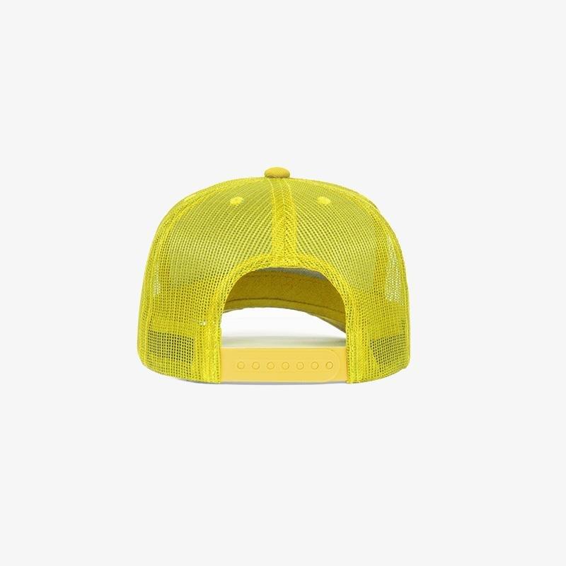 Boné trucker amarelo em sarja e tela - Traseiro