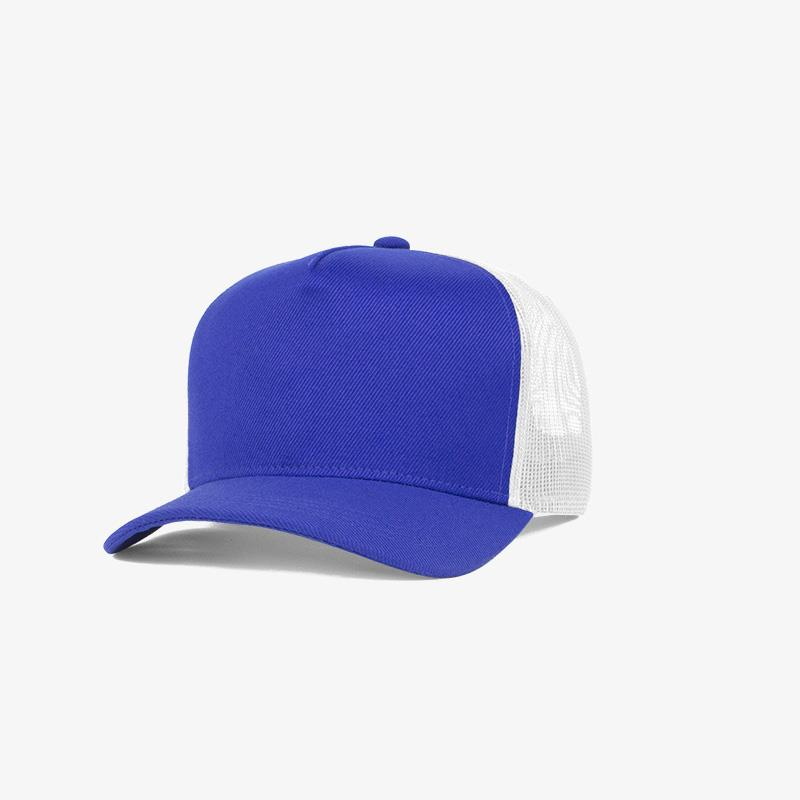 Boné trucker de sarja frente azul royal e traseira de tela branca - Perfil