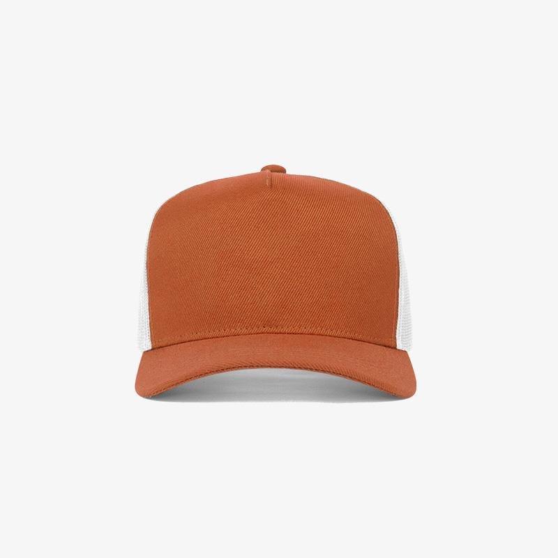 Boné trucker de sarja frente laranja 17 e traseira de tela branca - Frente