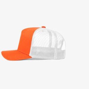 Boné trucker de sarja frente laranja fluorescente e traseira de tela branca - Lateral