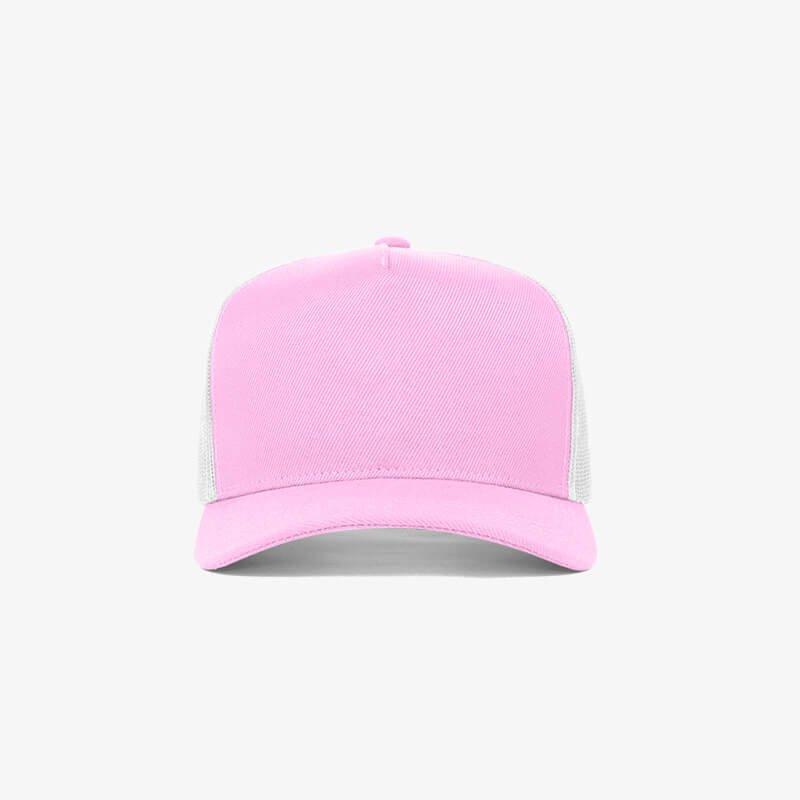 Boné trucker de sarja frente rosa 23 e traseira de tela branca - Frente