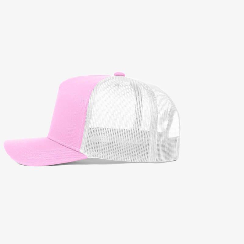 Boné trucker de sarja frente rosa 23 e traseira de tela branca - Lateral