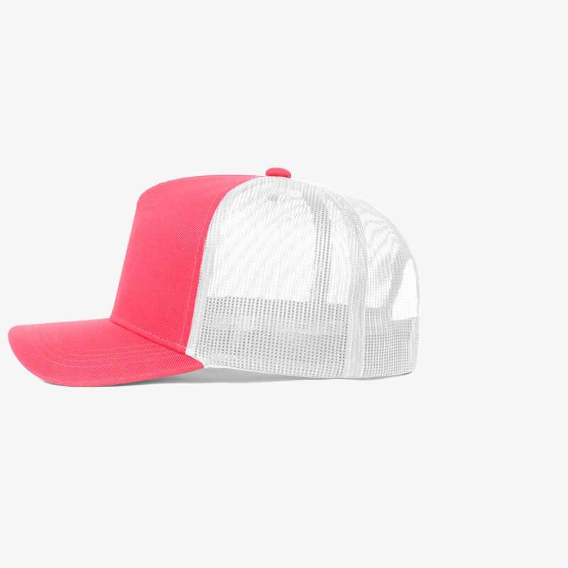 Boné trucker de sarja frente rosa fluorescente 24 e traseira de tela branca - Lateral