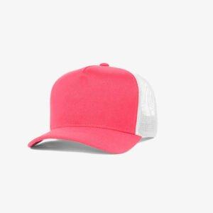 Boné trucker de sarja frente rosa fluorescente 24 e traseira de tela branca - Perfil