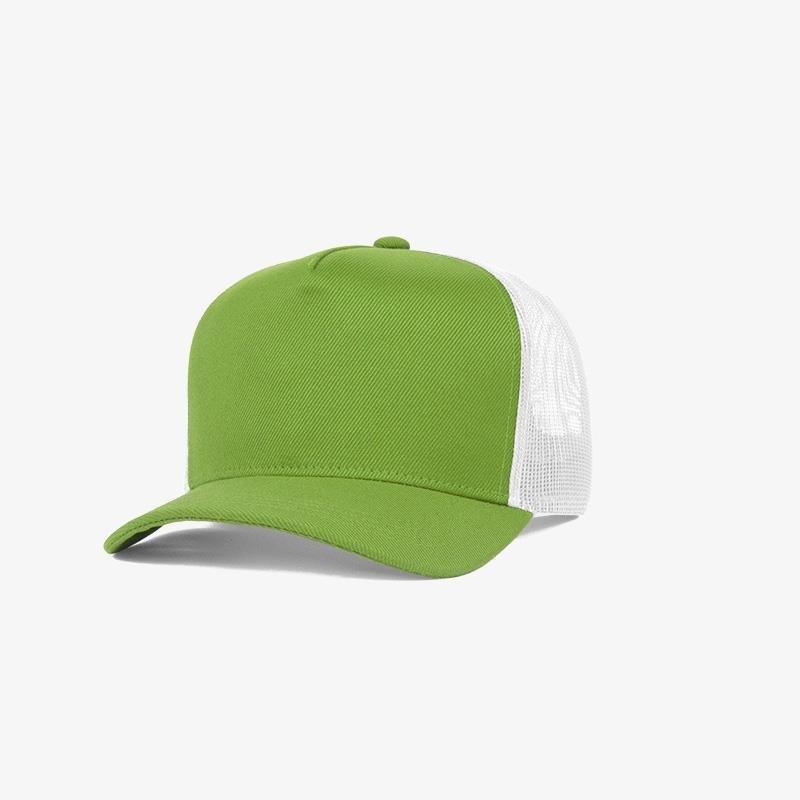 Boné trucker de sarja frente verde abacate 10 e traseira de tela branca - Perfil
