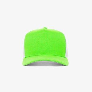Boné trucker de sarja frente verde fluorescente 12 e traseira de tela branca - Frente
