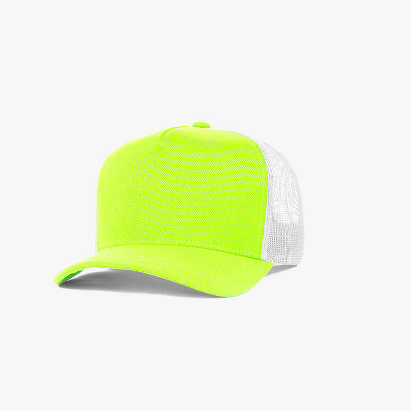 Boné trucker de sarja frente verde fluorescente 16 e traseira de tela branca - Perfil