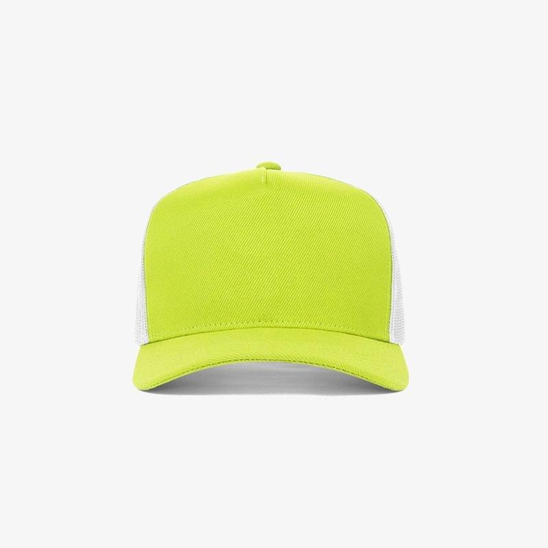 Boné trucker de sarja frente verde limão 11 e traseira de tela branca - Frente