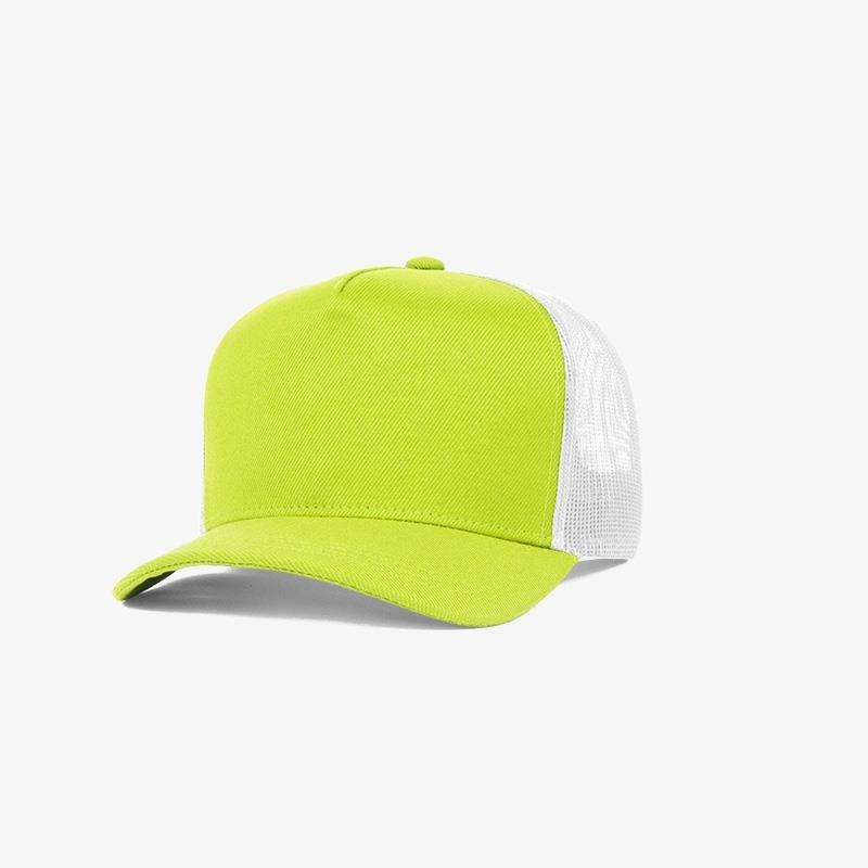 Boné trucker de sarja frente verde limão 11 e traseira de tela branca - Perfil