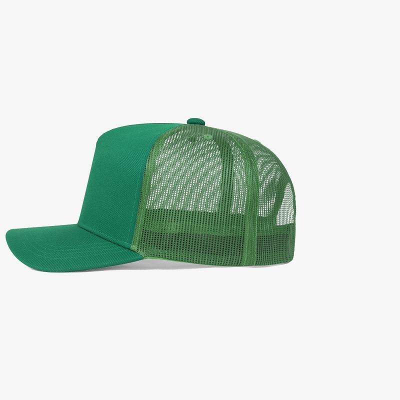 Boné trucker verde bandeira em sarja e tela - Lateral